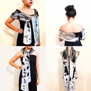 Mermaid Sequin Long Scarf Reversible Silver Black
